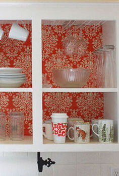 kitchen instant makeover on a dime, home decor, kitchen design, Open kitchen cabinet with cup hooks for coffee mugs