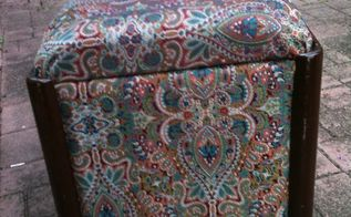 repurposing a vintage sewing bench into a blanket storage footstool, painted furniture, repurposing upcycling