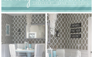 a rabat stenciled dining nook makeover, home decor, kitchen design, painting, wall decor