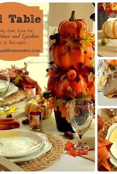 fall table decorated with better homes and gardens seasonal finds, living room ideas, seasonal holiday decor, Fall table with BHG dishes a DIY Pumpkin topiary and more