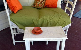 what does an old book a small yard sale table have in common, outdoor furniture, outdoor living, painted furniture, repurposing upcycling