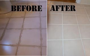 removing dried on grout and refreshing grout lines, cleaning tips, home maintenance repairs, tiling, Want to remove dried on grout and refresh dirty grout lines Use Oxiclean followed by a round of Grout Renew