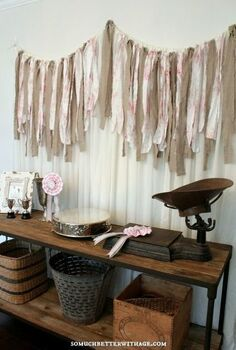 diy scrap fabric banner, crafts, home decor, repurposing upcycling, DIY Scrap Fabric Banner Backdrop