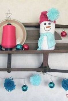 a slightly broken sled gets new life as a wall shelf, repurposing upcycling, seasonal holiday decor, shelving ideas, A rusty weathered sled becomes a wall shelf