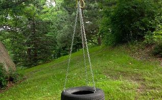 diy old fashioned tire swing, diy, outdoor living, The finished product