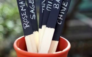 chalkboard paint plant markers, chalkboard paint, crafts, gardening, Let your wooden sticks dry and use your chalk to make your labels Stop by the blog for tips on how to prime your sticks before you write on them