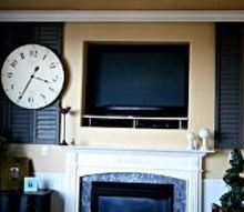 sliding shutter diy hide your tv, doors, fireplaces mantels, home decor, living room ideas, Antique Shutters made into a sliding barn door to hide the TV when not in use
