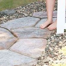 quick set concrete makes a stone look walkway, concrete masonry, landscape, outdoor living, Quick Set Concrete Stone Shaped Walkway