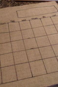 diy dry erase calendar board, cleaning tips, Burlap template