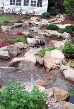 pondless waterfalls for the landscape, gardening, outdoor living, ponds water features, In the backyard a pondless waterfall is turned into a twisting turning stream