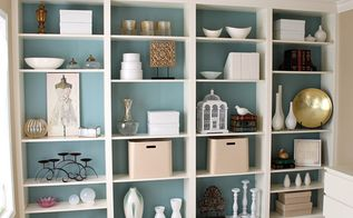 built in bookcases, craft rooms, storage ideas, All gussied up with storage boxes and containers for my craft supplies