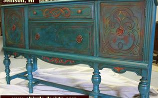 antique buffet painted in peacock blue, painted furniture