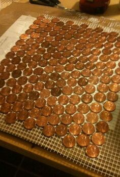 make a floor out of real pennies, flooring, tile flooring, tiling, glue the pennies onto the mesh