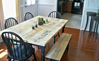 diy pallet farmhouse table, painted furniture, pallet, rustic furniture, urban living, Once they were all laid out he marked the length on each side of the table and cut the ends evenly with a skill saw Yes this was all done inside I m still cleaning up saw dust lol