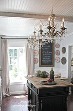 french country cottage kitchen, doors, kitchen design, kitchen island, lighting, Vintage chandeliers vintage french ticking drapes and a new but vintage inspired island