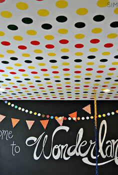 playfully stenciled polka dot ceiling giveaway, painting, wall decor