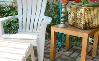 fun and bright brick patio, outdoor furniture, outdoor living, patio, spray an cast off endtable with outdoor paint and bring it outside