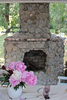 outdoor rock amp brick fireplace, fireplaces mantels, outdoor living