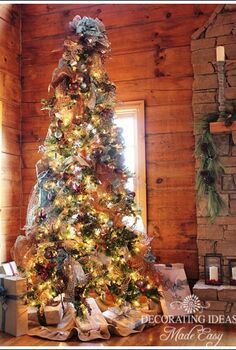 log cabin main christmas tree, christmas decorations, seasonal holiday decor, This tree theme made me want to change my tree this year