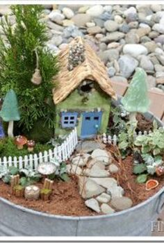 fairy garden, gardening, Using easily found items and created items I was able to create a fairy garden a great project with my children