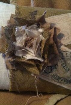 shabby french pillows, crafts, home decor, Burlap on linen look fabric
