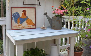 fall potting bench makeover, painted furniture