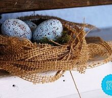 easy burlap nest, crafts, easter decorations, seasonal holiday decor, Aren t these little faux eggs wonderful I think that I m addicted