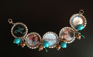 create personalized gifts using bottlecaps, crafts, repurposing upcycling, Bottlecap Bracelet made with personal photos scriptures and beads I had laying around I spent only 2 47 making this