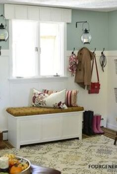 diy mudroom, laundry rooms, storage ideas, DIY a mudroom by adding a wooden wall treatment and beefy rod iron hooks with an added storage bin for shoes