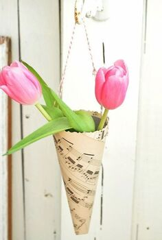 valentine s day ideas, crafts, repurposing upcycling, seasonal holiday decor, valentines day ideas, Create music sheet cones to hold tulips for a Valentine s table