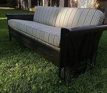 vintage porch glider restoration, outdoor furniture, painted furniture