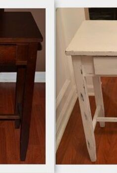 diy shabby chic foyer table distressing tutorial, home decor, painted furniture, shabby chic, Before and After