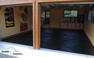 charcoal stained micro topping garage floor, flooring, garages, painting, The finish floor