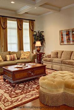 french style living room, home decor, living room ideas, Layers of fine reproductions furnishings add old world comfort Drapery panels with casual swags highlight the height of the room as they extend upward and draw attention to the coffered ceiling