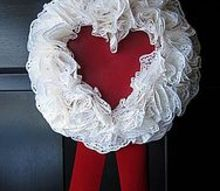 doily heart wreath, crafts, seasonal holiday decor, valentines day ideas, wreaths, This simple doily heart wreath was easy to make