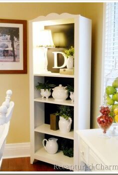 kitchen bookshelf, home decor, painted furniture, shelving ideas, A simple white bookshelf dramatically changes with some black paint