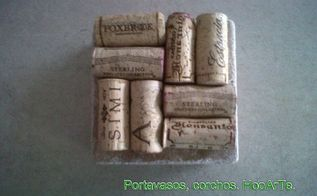 wine cork coasters travertine tiles, repurposing upcycling