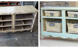 the best diy s upcycled furniture projects and tutorials by redoux, painted furniture, repurposing upcycling, Transform a Dumped Dresser without the Drawers to a beautiful Shelving Unit using the parts of the dresser as the shelves Bonus how to blend CeCe Caldwell s paints for this gorgeous paint treatment