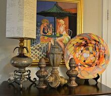 decorating with blown glass finials and a painting, home decor, painting, A glass blown lamp some finials a painting and a glass blown platter It feels like Spring
