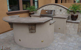 petite paradise landscape portfolio, decks, fireplaces mantels, outdoor living, This set up includes a gas barbeque and serving counter features a rounded poured concrete top It is the perfect place for preparing an outdoor dinner
