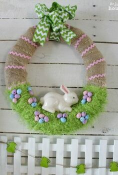 easter bunny in the grass wreath, crafts, easter decorations, seasonal holiday decor, wreaths