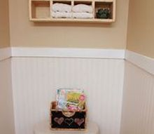 quick powder room makeover, bathroom ideas, home decor, After Tall beadboard wallpaper wainscoting
