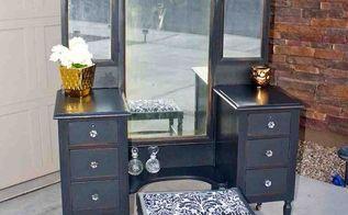antique vanity painted black, painted furniture