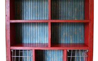 custom bookcase with vintage lockers and baskets, painted furniture, storage ideas, The completed bookcase GadgetSponge com