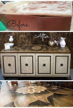 beauty the beast stained art sideboard buffet transformation, painted furniture, Before and After transformation