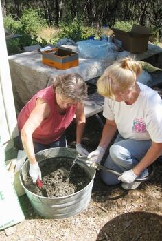 make your own concrete troughs, concrete masonry, diy, gardening, succulents, My playmate Cheryl and I get down and dirty mixing the Portland cement peat moss and perlite in 1 1 1 proportions