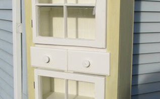 20 projects built from scratch, diy, painted furniture, woodworking projects, This one is not from new materials I used two old windows and some lumber from an old water bed to make this charming country cupboard