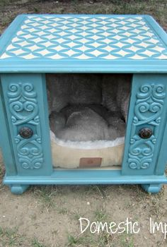 upcycle an old end table into a stenciled dog house, painted furniture
