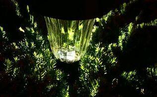 solar garden accent lights, gardening, go green, landscape, lighting, outdoor living, sparking light on top a pine tree