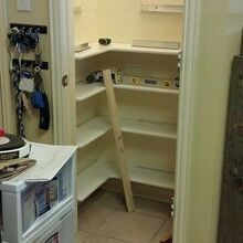 pantry remodel, cleaning tips, closet, kitchen cabinets, shelving ideas, woodworking projects, You can see the aluminum channel he used to hold the shelves Smart hubby